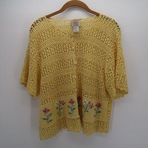 Teddi Yellow Floral Knit Button Front Top Size XL